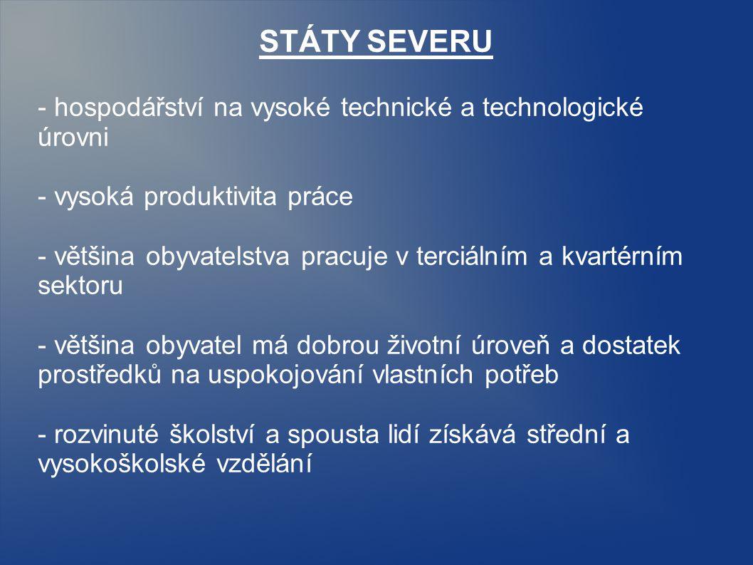 STÁTY SEVERU - hospodářství na vysoké technické a technologické úrovni - vysoká produktivita práce - většina obyvatelstva pracuje v terciálním a kvart