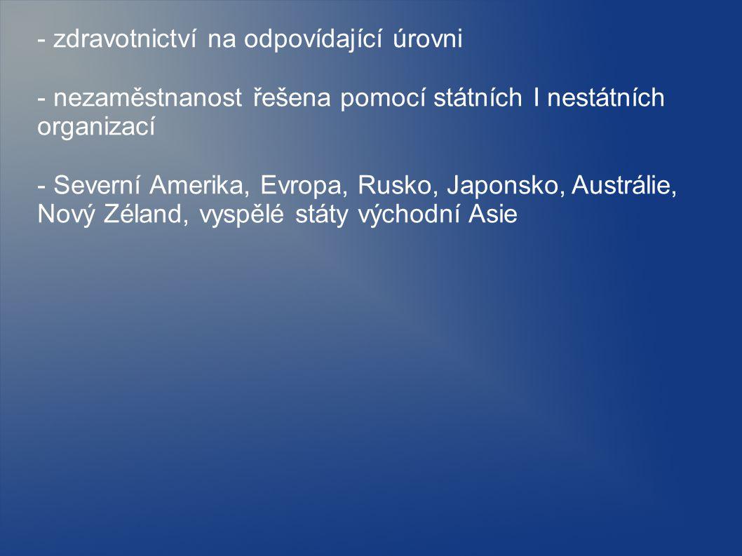 - zdravotnictví na odpovídající úrovni - nezaměstnanost řešena pomocí státních I nestátních organizací - Severní Amerika, Evropa, Rusko, Japonsko, Austrálie, Nový Zéland, vyspělé státy východní Asie