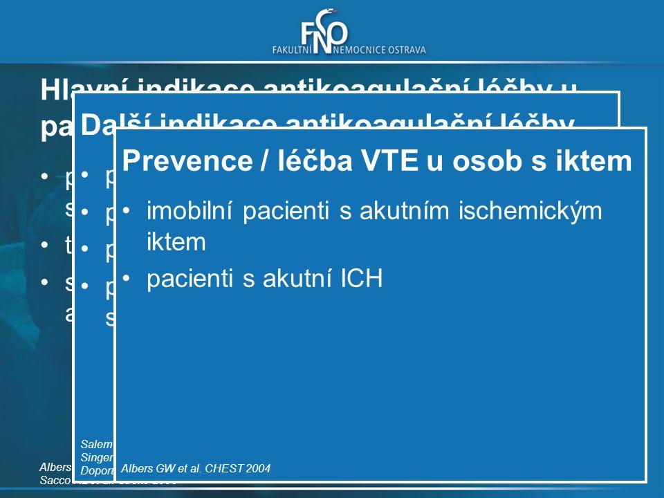 Hlavní indikace antikoagulační léčby u pacientů s cévním onemocněním mozku prevence nekardioembolického iktu u pacientů s trombofilií trombóza mozkový