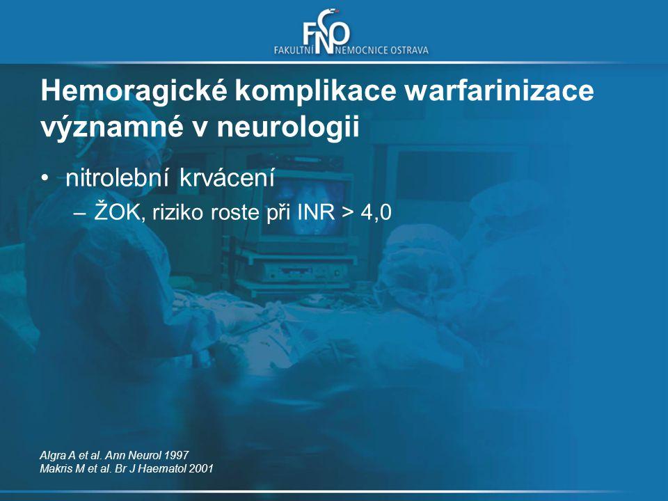 Hemoragické komplikace warfarinizace významné v neurologii nitrolební krvácení –ŽOK, riziko roste při INR > 4,0 Algra A et al. Ann Neurol 1997 Makris