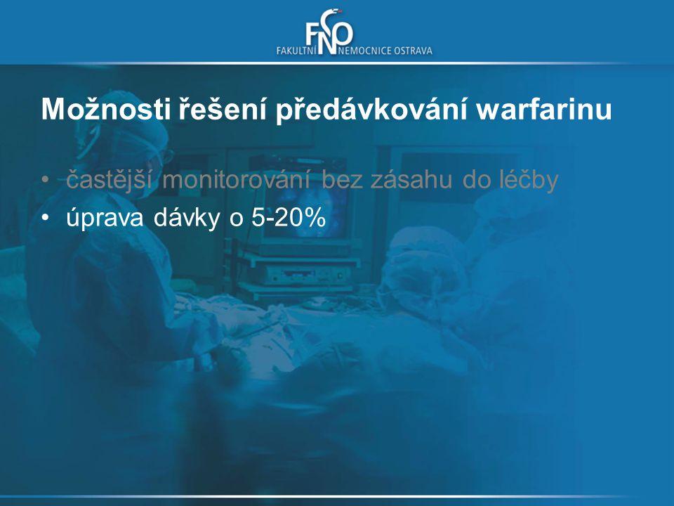 Možnosti řešení předávkování warfarinu častější monitorování bez zásahu do léčby úprava dávky o 5-20%