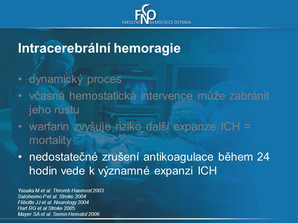 Intracerebrální hemoragie dynamický proces včasná hemostatická intervence může zabránit jeho růstu warfarin zvyšuje riziko další expanze ICH = mortali