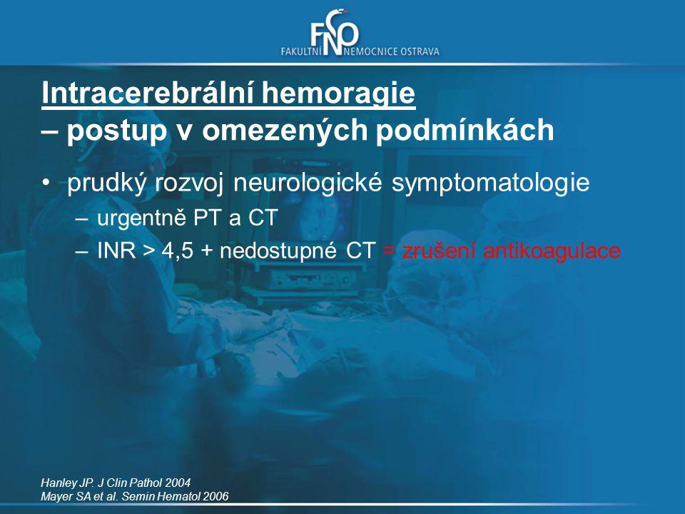 Intracerebrální hemoragie – postup v omezených podmínkách prudký rozvoj neurologické symptomatologie –urgentně PT a CT –INR > 4,5 + nedostupné CT = zr