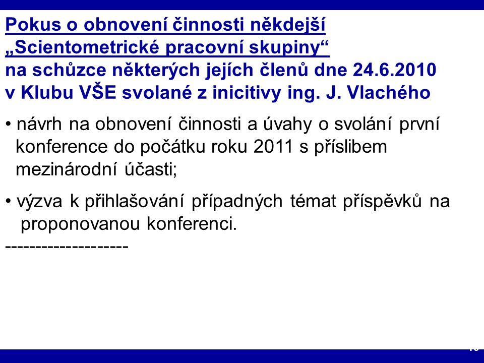 """18.1.2011IKI 2011 (c) M. Špála 2011 10 Pokus o obnovení činnosti někdejší """"Scientometrické pracovní skupiny"""" na schůzce některých jejích členů dne 24."""