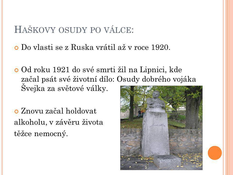 H AŠKOVY OSUDY PO VÁLCE : Do vlasti se z Ruska vrátil až v roce 1920.