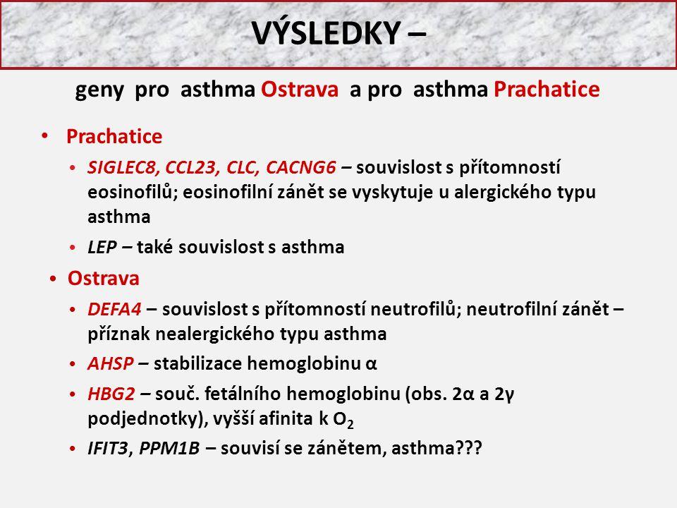 VÝSLEDKY – Prachatice SIGLEC8, CCL23, CLC, CACNG6 – souvislost s přítomností eosinofilů; eosinofilní zánět se vyskytuje u alergického typu asthma LEP