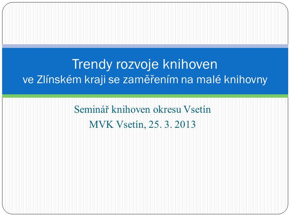 Seminář knihoven okresu Vsetín MVK Vsetín, 25. 3. 2013 Trendy rozvoje knihoven ve Zlínském kraji se zaměřením na malé knihovny