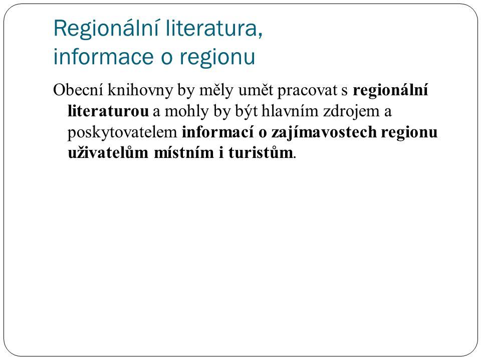 Regionální literatura, informace o regionu Obecní knihovny by měly umět pracovat s regionální literaturou a mohly by být hlavním zdrojem a poskytovate