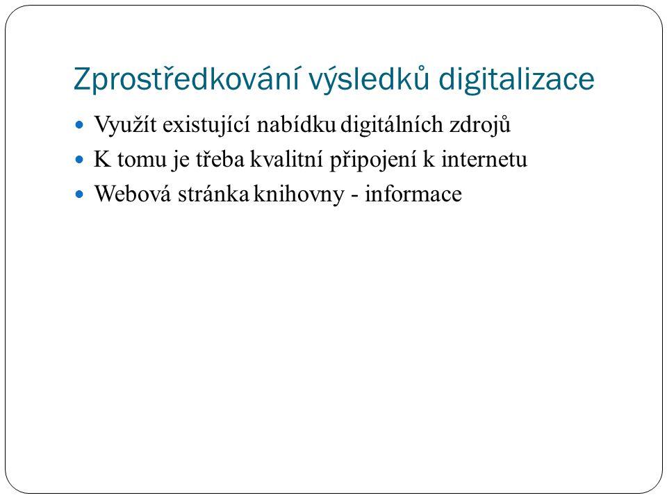 Zprostředkování výsledků digitalizace Využít existující nabídku digitálních zdrojů K tomu je třeba kvalitní připojení k internetu Webová stránka kniho