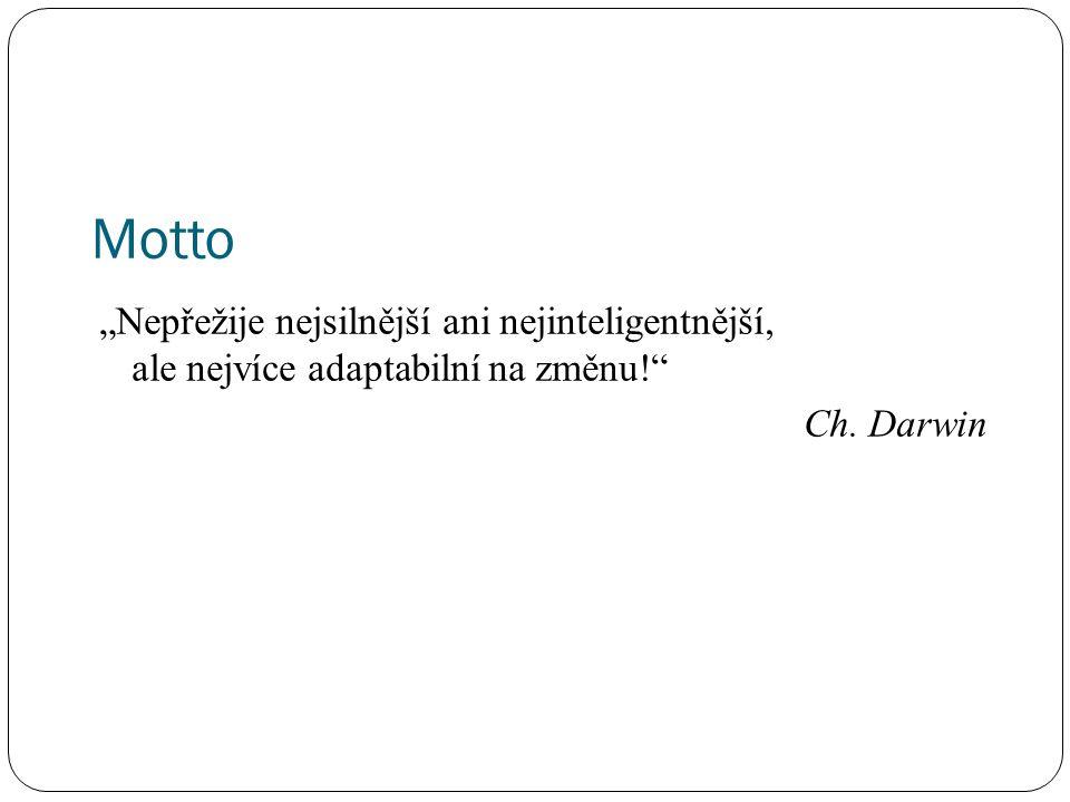 """Motto """"Nepřežije nejsilnější ani nejinteligentnější, ale nejvíce adaptabilní na změnu!"""" Ch. Darwin"""