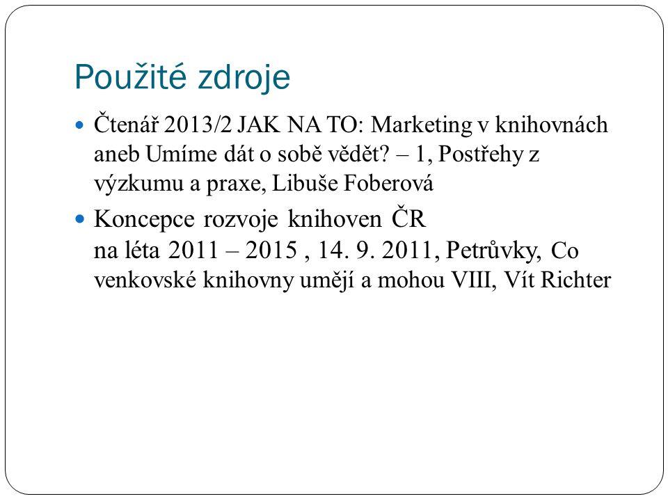 Použité zdroje Čtenář 2013/2 JAK NA TO: Marketing v knihovnách aneb Umíme dát o sobě vědět? – 1, Postřehy z výzkumu a praxe, Libuše Foberová Koncepce