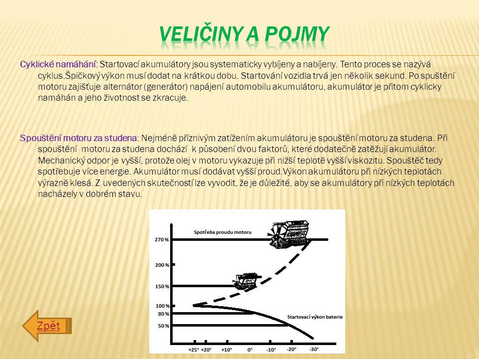 Cyklické namáhání: Startovací akumulátory jsou systematicky vybíjeny a nabíjeny.
