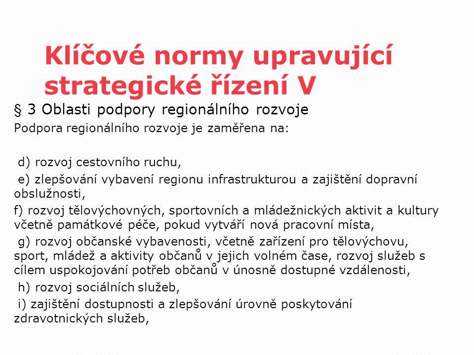 Klíčové normy upravující strategické řízení V § 3 Oblasti podpory regionálního rozvoje Podpora regionálního rozvoje je zaměřena na: d) rozvoj cestovní