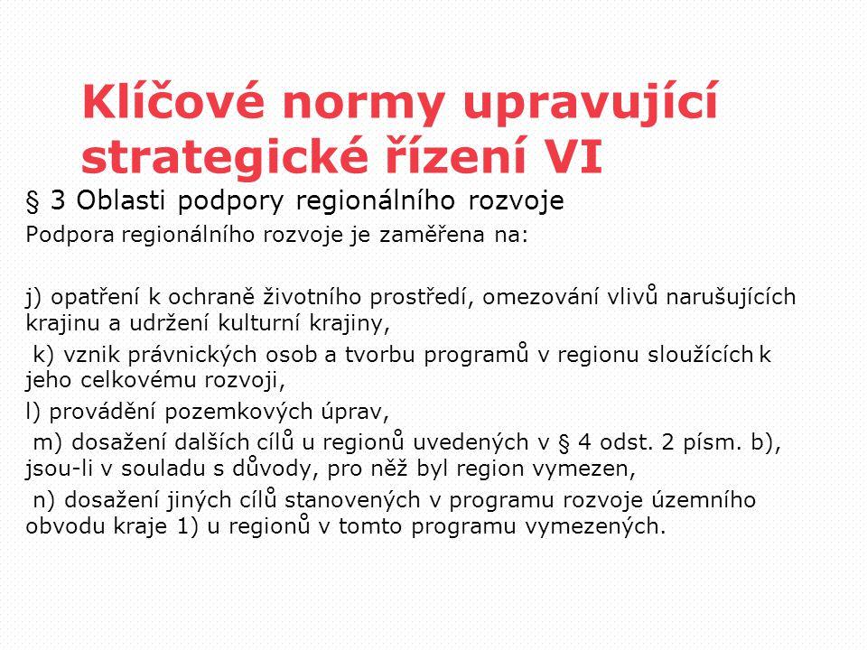 Klíčové normy upravující strategické řízení VI § 3 Oblasti podpory regionálního rozvoje Podpora regionálního rozvoje je zaměřena na: j) opatření k och