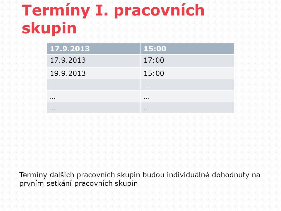 Termíny I. pracovních skupin 17.9.201315:00 17.9.201317:00 19.9.201315:00 …… …… …… Termíny dalších pracovních skupin budou individuálně dohodnuty na p