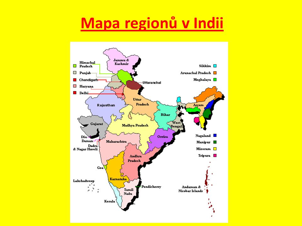 Mapa regionů v Indii