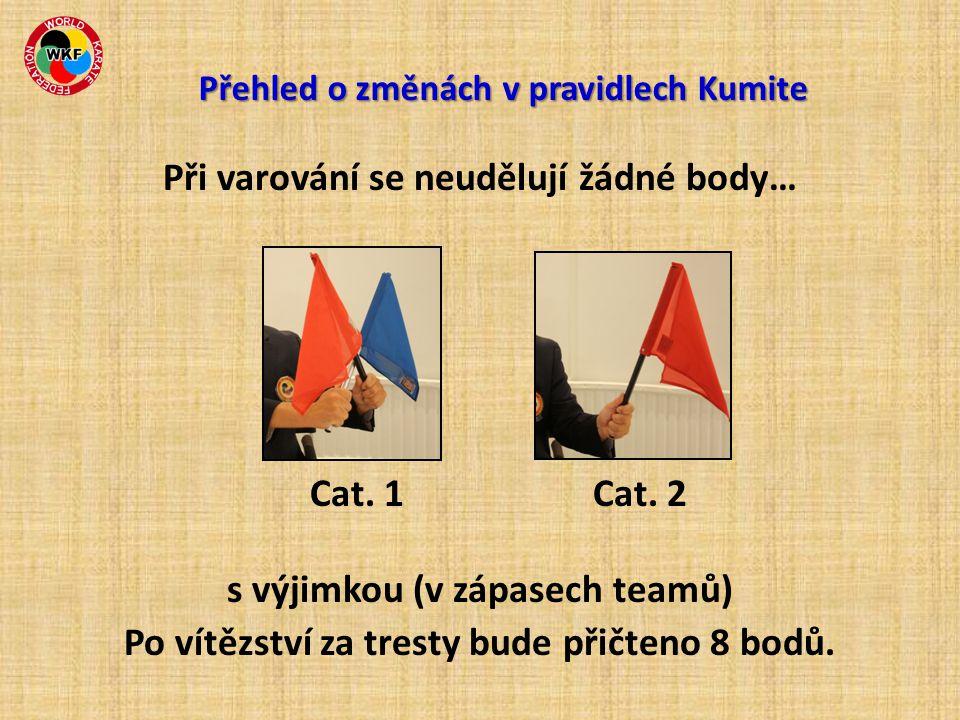 Při varování se neudělují žádné body… Cat. 1 Cat. 2 s výjimkou (v zápasech teamů) Po vítězství za tresty bude přičteno 8 bodů. Přehled o změnách v pra