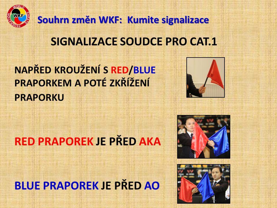 SIGNALIZACE SOUDCE PRO CAT.1 NAPŘED KROUŽENÍ S RED/BLUE PRAPORKEM A POTÉ ZKŘÍŽENÍ PRAPORKU RED PRAPOREK JE PŘED AKA BLUE PRAPOREK JE PŘED AO Souhrn změn WKF: Kumite signalizace