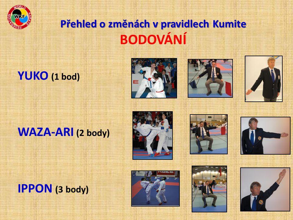 Přehled o změnách v pravidlech Kumite Přehled o změnách v pravidlech Kumite BODOVÁNÍ YUKO (1 bod) WAZA-ARI (2 body) IPPON (3 body)