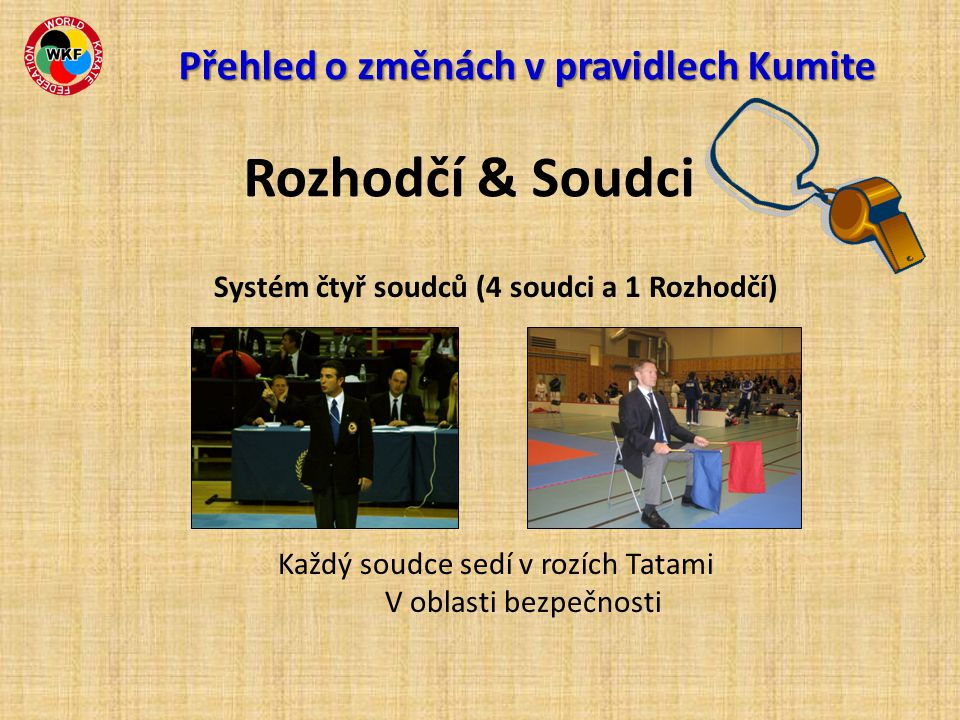 Systém čtyř soudců (4 soudci a 1 Rozhodčí) Každý soudce sedí v rozích Tatami V oblasti bezpečnosti Přehled o změnách v pravidlech Kumite Přehled o změnách v pravidlech Kumite Rozhodčí & Soudci