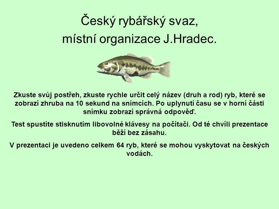 Český rybářský svaz, místní organizace J.Hradec. Zkuste svůj postřeh, zkuste rychle určit celý název (druh a rod) ryb, které se zobrazí zhruba na 10 s
