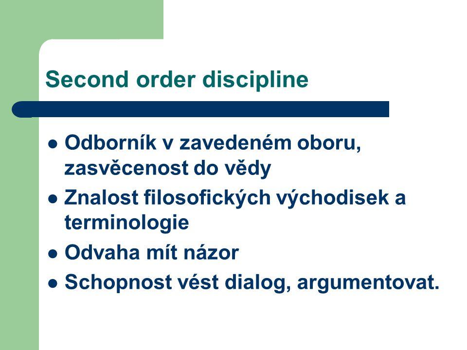 Second order discipline Odborník v zavedeném oboru, zasvěcenost do vědy Znalost filosofických východisek a terminologie Odvaha mít názor Schopnost vést dialog, argumentovat.