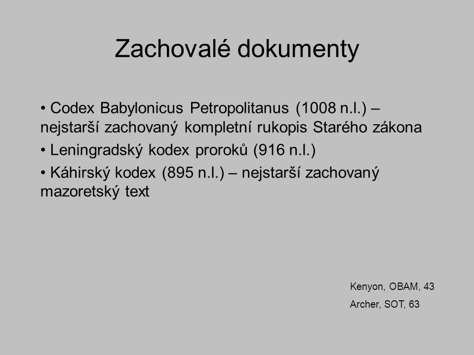 Zachovalé dokumenty Codex Babylonicus Petropolitanus (1008 n.l.) – nejstarší zachovaný kompletní rukopis Starého zákona Leningradský kodex proroků (91