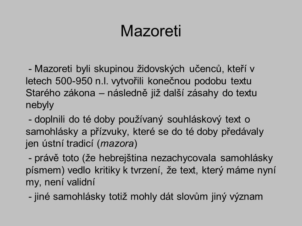 Mazoreti - Mazoreti byli skupinou židovských učenců, kteří v letech 500-950 n.l. vytvořili konečnou podobu textu Starého zákona – následně již další z