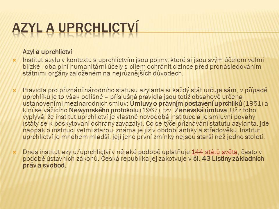 Pobytový status  Nabytím právní moci rozhodnutí o udělení azylu získává právní postavení azylanta a po dobu trvání azylu zároveň trvalý pobyt na území České republiky (dále jen ČR).