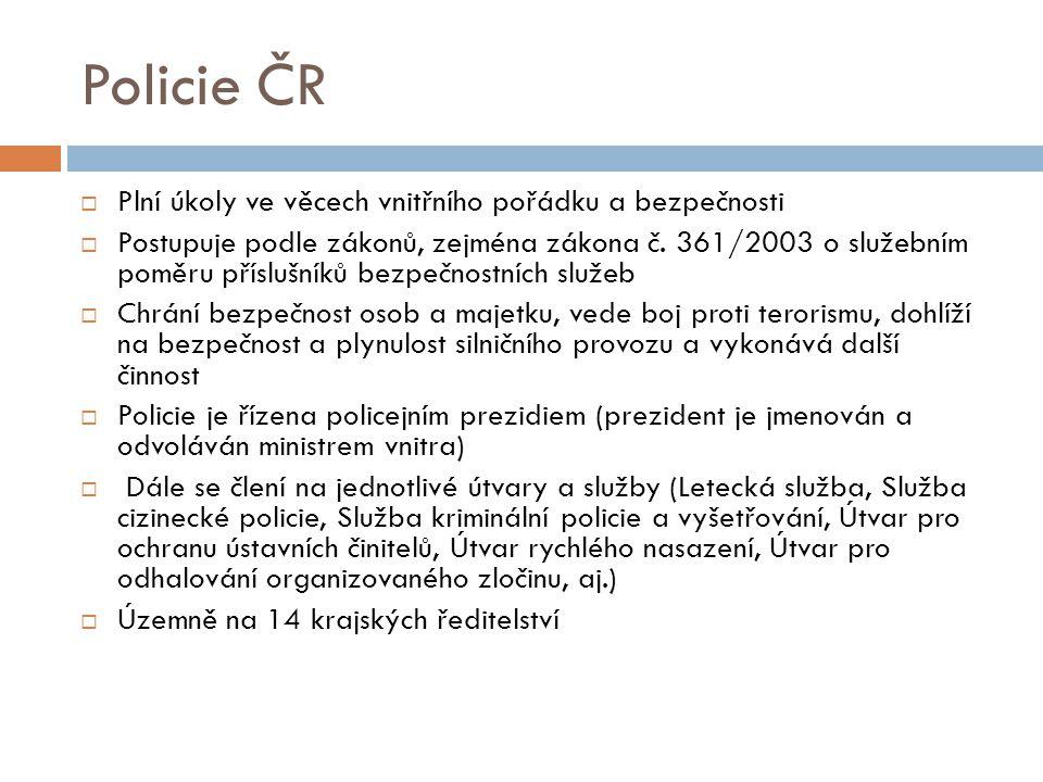 Policie ČR  Plní úkoly ve věcech vnitřního pořádku a bezpečnosti  Postupuje podle zákonů, zejména zákona č. 361/2003 o služebním poměru příslušníků