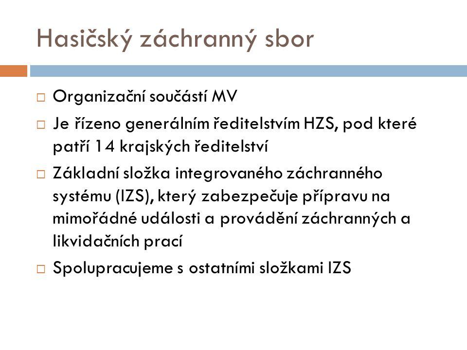 Hasičský záchranný sbor  Organizační součástí MV  Je řízeno generálním ředitelstvím HZS, pod které patří 14 krajských ředitelství  Základní složka