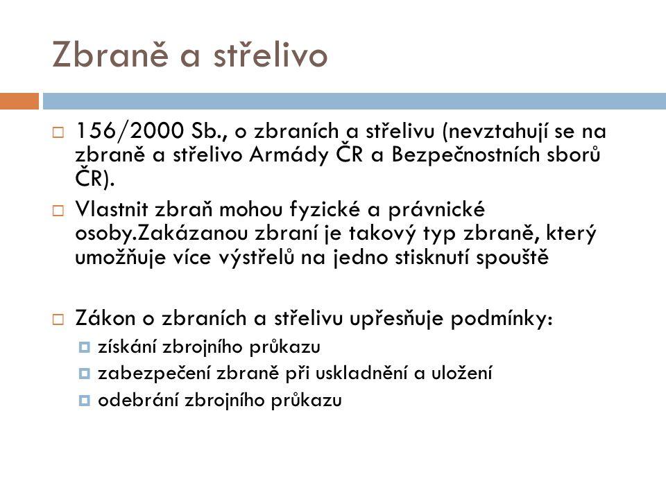 Zbraně a střelivo  156/2000 Sb., o zbraních a střelivu (nevztahují se na zbraně a střelivo Armády ČR a Bezpečnostních sborů ČR).  Vlastnit zbraň moh