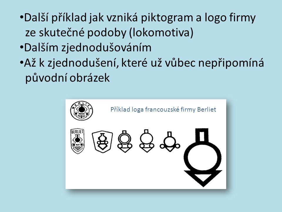 Další příklad jak vzniká piktogram a logo firmy ze skutečné podoby (lokomotiva) Dalším zjednodušováním Až k zjednodušení, které už vůbec nepřipomíná původní obrázek Příklad loga francouzské firmy Berliet