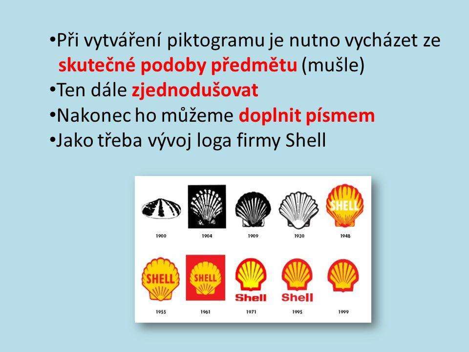 Při vytváření piktogramu je nutno vycházet ze skutečné podoby předmětu (mušle) Ten dále zjednodušovat Nakonec ho můžeme doplnit písmem Jako třeba vývoj loga firmy Shell