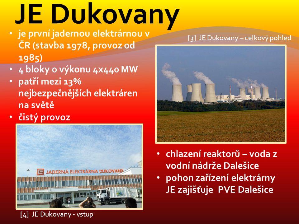 JE Dukovany je první jadernou elektrárnou v ČR (stavba 1978, provoz od 1985) 4 bloky o výkonu 4x440 MW patří mezi 13% nejbezpečnějších elektráren na s