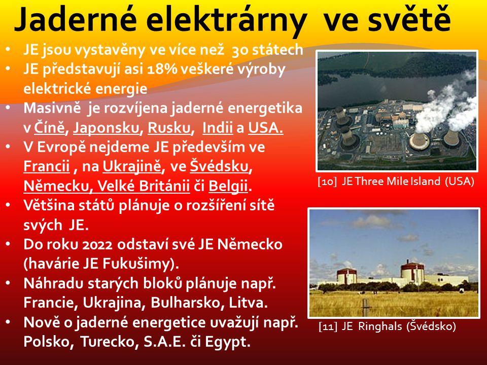 Jaderné elektrárny ve světě JE jsou vystavěny ve více než 3o státech JE představují asi 18% veškeré výroby elektrické energie Masivně je rozvíjena jad