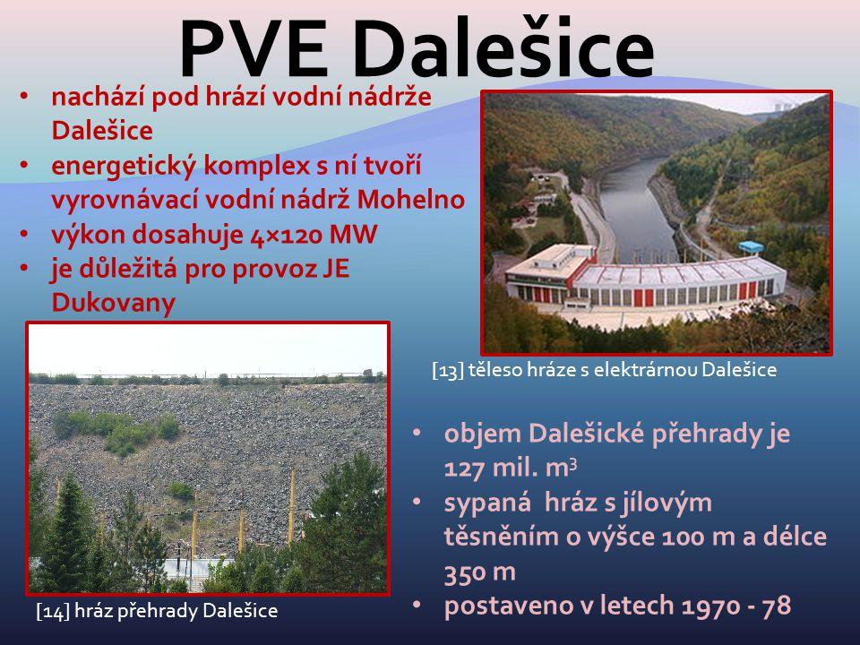 PVE Dalešice [13] těleso hráze s elektrárnou Dalešice nachází pod hrází vodní nádrže Dalešice energetický komplex s ní tvoří vyrovnávací vodní nádrž M