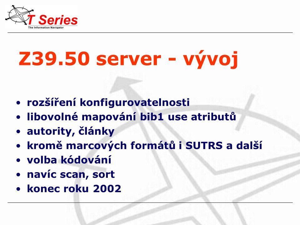 Z39.50 server - vývoj rozšíření konfigurovatelnosti libovolné mapování bib1 use atributů autority, články kromě marcových formátů i SUTRS a další volba kódování navíc scan, sort konec roku 2002