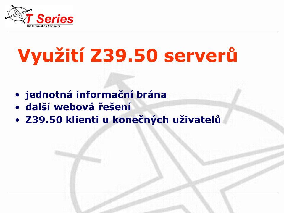 Využití Z39.50 serverů jednotná informační brána další webová řešení Z39.50 klienti u konečných uživatelů
