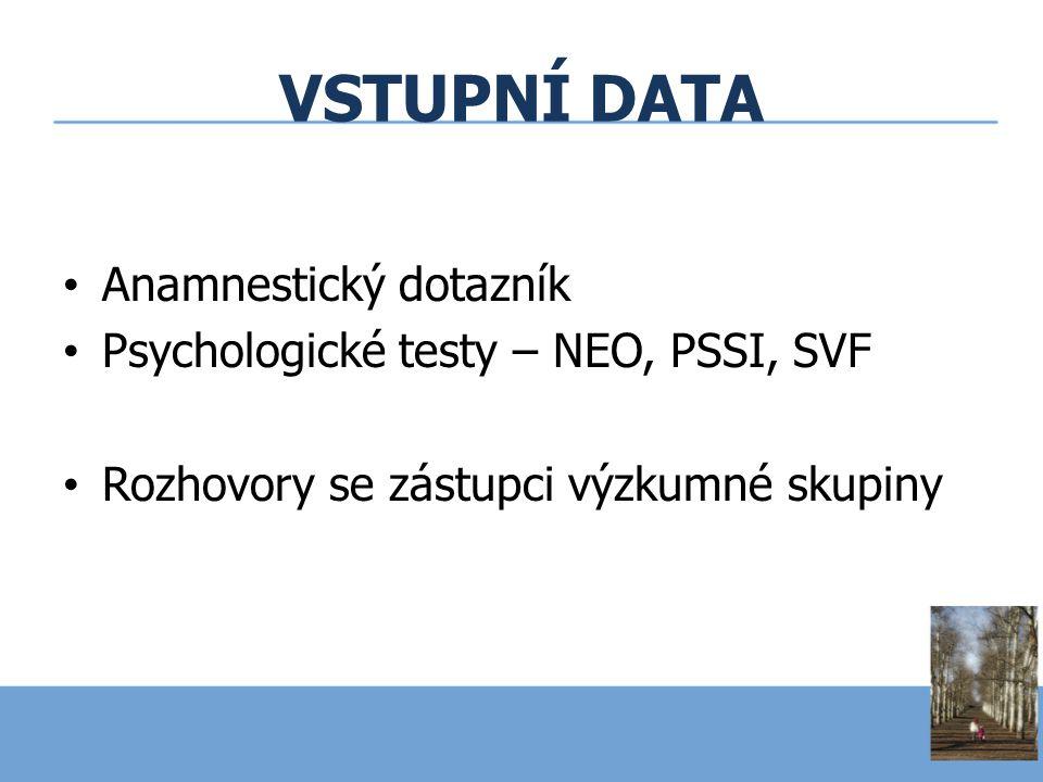 VSTUPNÍ DATA Anamnestický dotazník Psychologické testy – NEO, PSSI, SVF Rozhovory se zástupci výzkumné skupiny