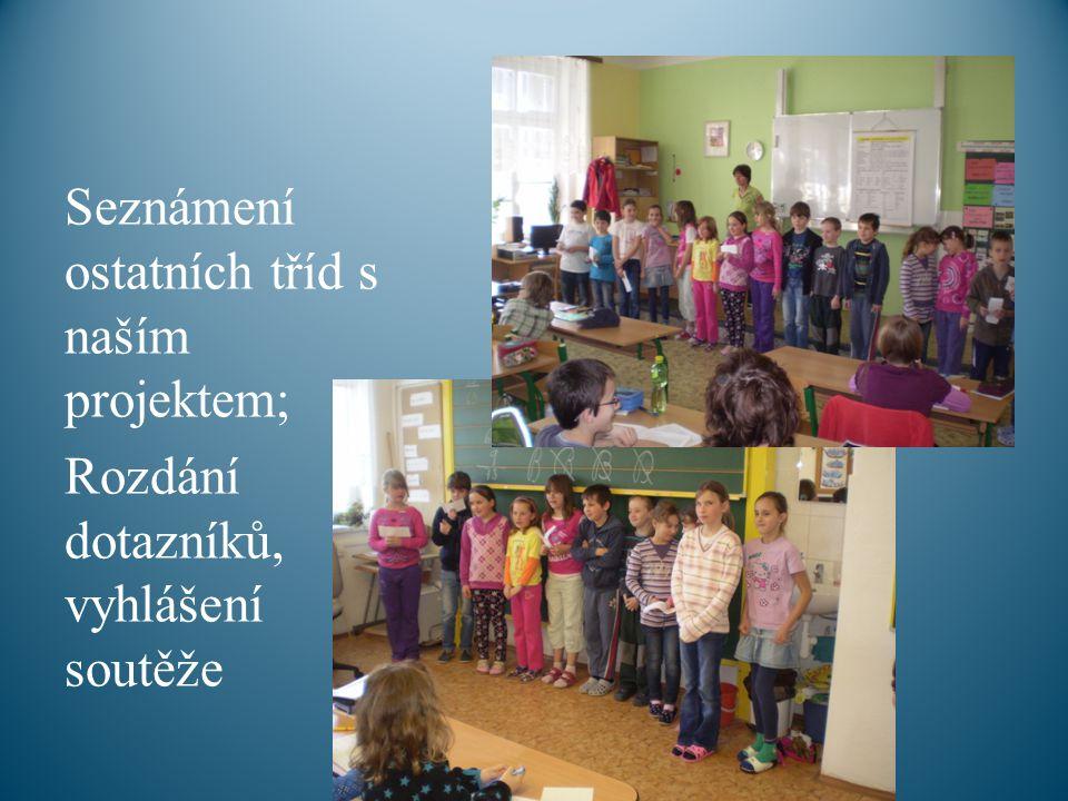 Seznámení ostatních tříd s naším projektem; Rozdání dotazníků, vyhlášení soutěže