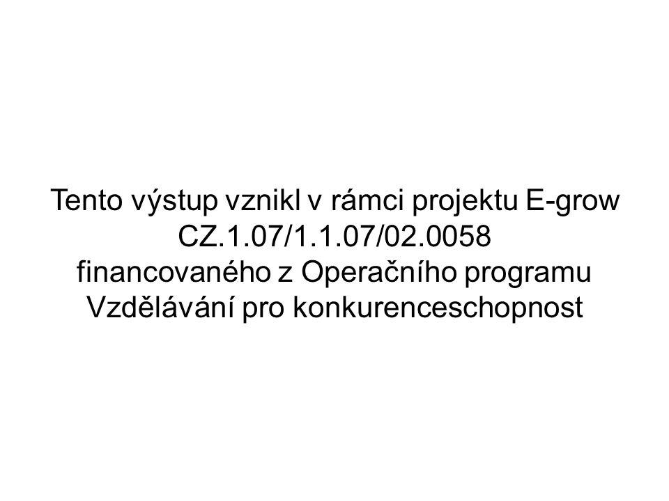 Tento výstup vznikl v rámci projektu E-grow CZ.1.07/1.1.07/02.0058 financovaného z Operačního programu Vzdělávání pro konkurenceschopnost