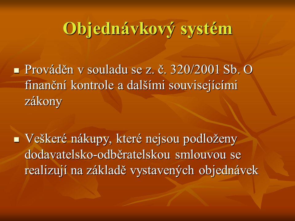 Objednávkový systém Prováděn v souladu se z. č. 320/2001 Sb.