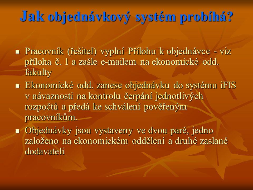 Jak objednávkový systém probíhá. Pracovník (řešitel) vyplní Přílohu k objednávce - viz příloha č.