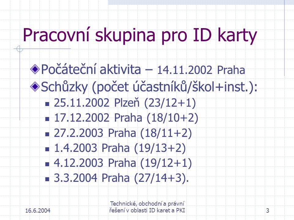 16.6.2004 Technické, obchodní a právní řešení v oblasti ID karet a PKI3 Pracovní skupina pro ID karty Počáteční aktivita – 14.11.2002 Praha Schůzky (počet účastníků/škol+inst.): 25.11.2002 Plzeň (23/12+1) 17.12.2002 Praha (18/10+2) 27.2.2003 Praha (18/11+2) 1.4.2003 Praha (19/13+2) 4.12.2003 Praha (19/12+1) 3.3.2004 Praha (27/14+3).