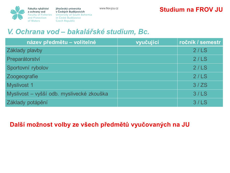 www.frov.jcu.cz Studium na FROV JU V.Ochrana vod – bakalářské studium, Bc.