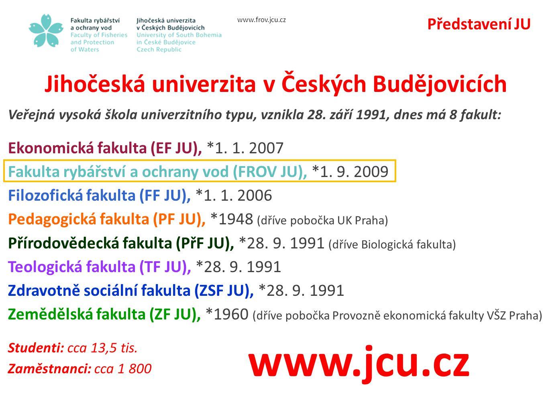 Představení JU Jihočeská univerzita v Českých Budějovicích Veřejná vysoká škola univerzitního typu, vznikla 28.