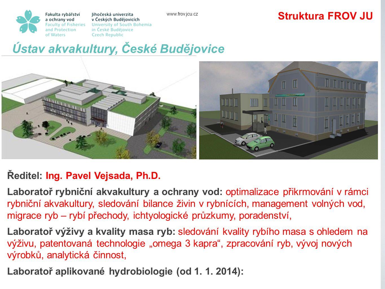 www.frov.jcu.cz Ústav akvakultury, České Budějovice Ředitel: Ing.