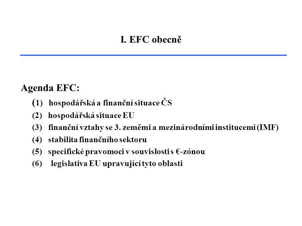 Agenda EFC: ( 1) hospodářská a finanční situace ČS (2) hospodářská situace EU (3) finanční vztahy se 3.