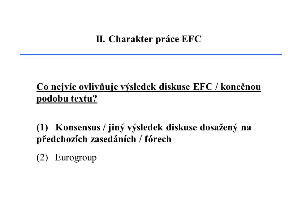 II. Charakter práce EFC Co nejvíc ovlivňuje výsledek diskuse EFC / konečnou podobu textu.